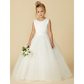 cheap Flower Girl Dresses-A-Line Floor Length Flower Girl Dress - Satin / Tulle Sleeveless Jewel Neck with Bow(s) / Buttons by LAN TING BRIDE®