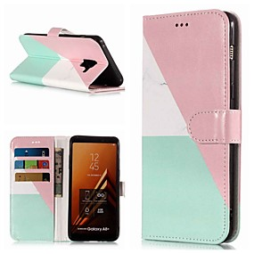 voordelige Galaxy A3(2017) Hoesjes / covers-hoesje Voor Samsung Galaxy A3 (2017) / A5 (2017) / A8 2018 Portemonnee / Kaarthouder / met standaard Volledig hoesje Marmer Hard PU-nahka