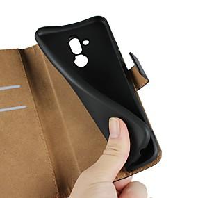 Недорогие Чехлы и кейсы для Huawei Mate-Кейс для Назначение Huawei Huawei Nova 3i / Mate 10 / Mate 10 lite Кошелек / Бумажник для карт / со стендом Чехол Однотонный Твердый Настоящая кожа