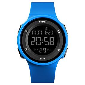 Недорогие Фирменные часы-SKMEI Муж. Спортивные часы Армейские часы электронные часы Цифровой силиконовый Черный / Синий / Зеленый 50 m Защита от влаги Будильник Календарь Цифровой На каждый день Мода - Розовый Зеленый Синий