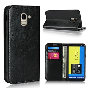 cheap Galaxy J7(2017) Cases / Covers-Case For Samsung Galaxy J7 (2017) / J6 (2018) / J5 (2017) Wallet / Card Holder / with Stand Full Body Cases Solid Colored Hard Genuine Leather