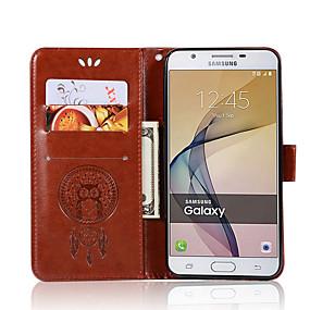 Недорогие Чехлы и кейсы для Galaxy J3(2017)-Кейс для Назначение SSamsung Galaxy On7(2016) / On5(2016) / J7 Prime Кошелек / Бумажник для карт / со стендом Чехол Сова Твердый Кожа PU