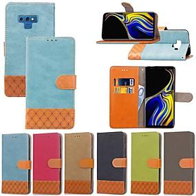 Недорогие Чехлы и кейсы для Galaxy Note 8-Кейс для Назначение SSamsung Galaxy Note 9 / Note 8 / Note 5 Бумажник для карт / Защита от удара / со стендом Чехол Однотонный / Геометрический рисунок Твердый текстильный