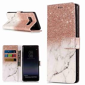 Недорогие Чехлы и кейсы для Galaxy Note 8-Кейс для Назначение SSamsung Galaxy Note 9 / Note 8 Кошелек / Бумажник для карт / со стендом Чехол Мрамор Твердый Кожа PU