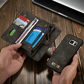 voordelige Galaxy S7 Hoesjes / covers-hoesje Voor Samsung Galaxy S7 Portemonnee / Kaarthouder / met standaard Volledig hoesje Effen Hard PU-nahka