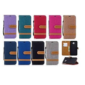 voordelige Galaxy J5(2017) Hoesjes / covers-hoesje Voor Samsung Galaxy J6 (2018) / J6 Plus / J5 (2017) Portemonnee / Kaarthouder / met standaard Volledig hoesje Tegel Hard tekstiili