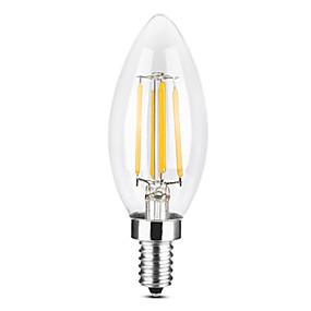 povoljno LED žarulje s nitima-YWXLIGHT® 1pc 4 W LED svjećice LED filament žarulje 300-400 lm E14 C35 4 LED zrnca COB Zatamnjen Toplo bijelo Hladno bijelo 220-240 V