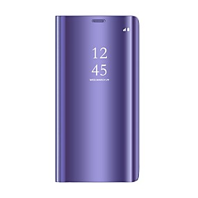 voordelige Galaxy J7(2017) Hoesjes / covers-hoesje Voor Samsung Galaxy On7(2016) / On5(2016) / J8 (2018) met standaard / Beplating / Spiegel Volledig hoesje Effen Hard PU-nahka