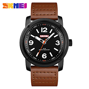 Недорогие Фирменные часы-SKMEI Муж. Нарядные часы Наручные часы Кварцевый Натуральная кожа Черный / Коричневый 30 m Защита от влаги Новый дизайн Повседневные часы Аналоговый Классика На каждый день Мода - Черный Коричневый