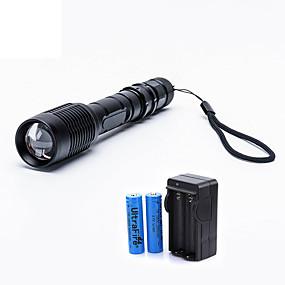 olcso Elemlámpa készlet-UltraFire LED zseblámpák 2000 lm LED LED 1 Sugárzók 5 világítás mód akkukkal és töltővel Nagyítható Állítható fókusz Kempingezés / Túrázás / Barlangászat Mindennapokra Utazás Fekete
