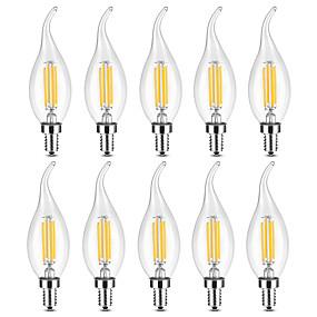 ieftine Becuri LED Lumânare-YWXLIGHT® 10pcs 4 W Becuri LED Lumânare Bec Filet LED 300-400 lm E14 C35 4 LED-uri de margele COB Crăciun decor de nunta Alb Cald Alb 220-240 V