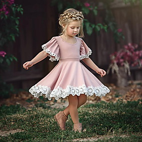 cheap Fashion Trends-Toddler Girls' Sweet Party Dusty Rose Flower Lace Short Sleeve Dress Blushing Pink