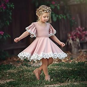 povoljno New Year 2020-Dijete koje je tek prohodalo Djevojčice slatko Party Dusty Rose Cvijet Čipka Kratkih rukava Haljina Blushing Pink