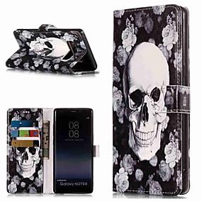 Недорогие Чехлы и кейсы для Galaxy Note 8-Кейс для Назначение SSamsung Galaxy Note 9 / Note 8 Кошелек / Бумажник для карт / со стендом Чехол Черепа Твердый Кожа PU