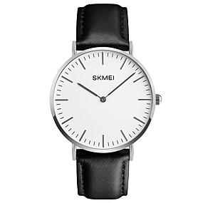 Недорогие Фирменные часы-SKMEI Муж. Нарядные часы Наручные часы Кварцевый Классика Защита от влаги Натуральная кожа Черный Аналоговый - Черный Серебряный Один год Срок службы батареи