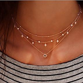 olcso Többsoros nyaklánc-Női Rövid nyakláncok Charm nyaklánc Többrétegű Zvijezda hölgyek Bohém Punk Lolita Divat Strassz Ötvözet Arany Réteg nyaklánc 1 Réteg nyaklánc 2 Réteg nyaklánc 3 Réteg nyaklánc 4 40 cm Nyakláncok
