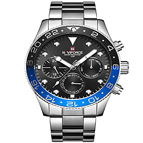 cheap Brand Watches-NAVIFORCE Men's Sport Watch Wrist Watch Japanese Japanese Quartz 30 m Water Resistant / Water Proof Calendar / date / day Shock Resistant Stainless Steel Band Analog Luxury Fashion Black / Silver