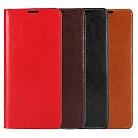 Недорогие Чехлы и кейсы для Galaxy Note 8-Кейс для Назначение SSamsung Galaxy Note 9 / Note 8 / Note 5 Кошелек / Бумажник для карт / со стендом Чехол Однотонный Твердый Настоящая кожа
