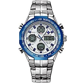 voordelige Merk Horloge-WWOOR Heren Sporthorloge Digitaal horloge Japans Japanse quartz Roestvrij staal Zilver / Goud 30 m Waterbestendig Kalender Stopwatch Analoog-Digitaal Modieus - Zwart en Gold Zilver / Blauw