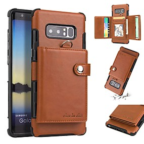 Недорогие Чехлы и кейсы для Galaxy Note 8-Кейс для Назначение Apple Note 9 / Note 8 Кошелек / Бумажник для карт / Защита от удара Кейс на заднюю панель Однотонный Мягкий ТПУ