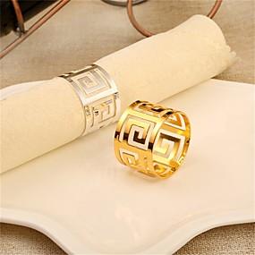 olcso Szalvéták, szalvétagyűrűk-Kortárs Alkalmi Rozsdamentes acél Kör Szalvétagyűrű Mintás Asztali dekorációk 1 pcs
