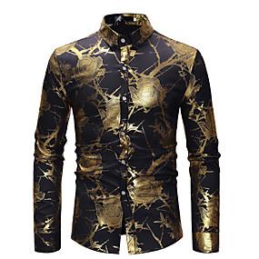 저렴한 최고 판매-남성용 파티 셔츠 플로럴 프린트 긴 소매 탑스 사치 베이직 화이트 블랙 와인 / 클럽