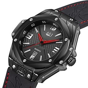 Недорогие Фирменные часы-ASJ Муж. Спортивные часы Японский Японский кварц Натуральная кожа Черный 100 m Защита от влаги Календарь Аналоговый На каждый день минималист - Черный Черный / Серебристый Один год Срок службы батареи