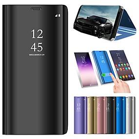 Недорогие Чехлы и кейсы для Huawei Mate-Кейс для Назначение Huawei Mate 10 / Mate 10 pro / Mate 10 lite со стендом / Покрытие / Зеркальная поверхность Чехол Однотонный Твердый Кожа PU / Mate 9 Pro