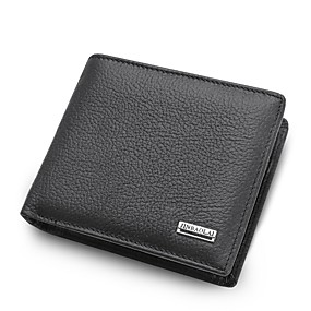 olcso Napi akciók-férfi táskák nappa bőr pénztárca egyszínű fekete / barna