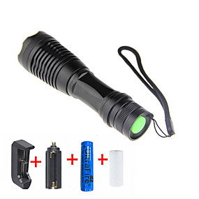 olcso Elemlámpa készlet-LED zseblámpák 2000 lm LED LED 1 Sugárzók 5 világítás mód akkuval és töltővel Állítható fókusz Kempingezés / Túrázás / Barlangászat Mindennapokra Kerékpározás / Alumínium ötvözet