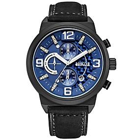 Недорогие Фирменные часы-BAOGELA Муж. Спортивные часы Японский Японский кварц Натуральная кожа Черный 30 m Защита от влаги Календарь Секундомер Аналого-цифровые Классика На каждый день Мода - Черный Черный / Синий
