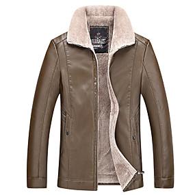 voordelige Winterjassen-Heren Dagelijks Standaard Grote maten Normaal Leren jacks, Effen Overhemdkraag Lange mouw PU Zwart / Khaki