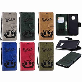 Недорогие Чехлы и кейсы для Huawei Mate-Кейс для Назначение Huawei Mate 10 lite / Huawei Mate 20 lite / Huawei Mate 20 pro Кошелек / Бумажник для карт / со стендом Чехол Панда Твердый Кожа PU