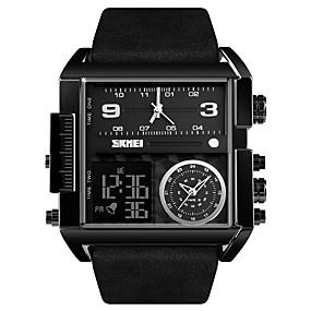 Недорогие Фирменные часы-SKMEI Муж. Спортивные часы Армейские часы электронные часы Цифровой Крупногабаритные Роскошь Защита от влаги Натуральная кожа Черный / Коричневый Аналого-цифровые - / Один год / Будильник