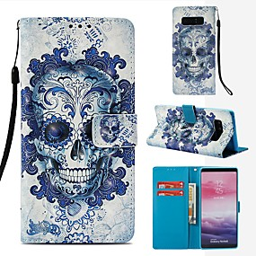 Недорогие Чехлы и кейсы для Galaxy Note 8-Кейс для Назначение SSamsung Galaxy Note 8 Кошелек / Бумажник для карт / Флип Чехол Черепа Твердый Кожа PU