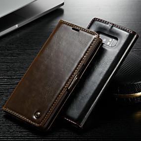 Недорогие Чехлы и кейсы для Galaxy Note 8-Кейс для Назначение SSamsung Galaxy Note 9 / Note 8 / Note 5 Кошелек / Бумажник для карт / со стендом Чехол Однотонный Твердый Кожа PU