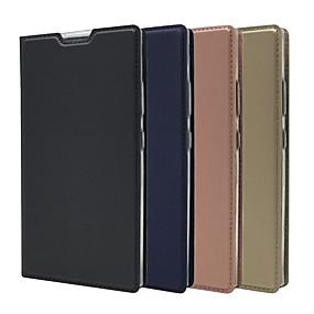 baratos Sony-estojo para sony xperia l4 / xperia 1 ii / xperia 10 ii ultrafino / flip / com suporte estojo de corpo inteiro em couro pu duro de cor sólida para sony xperia l3 xperia xz5 / xperia 5 xperia xz4 /