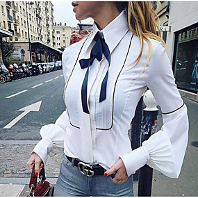 cheap Women's Tops-Women's Daily Basic Slim Shirt - Solid Colored Bow / Fashion Shirt Collar White / Spring / Summer / Fall / Winter