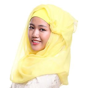 رخيصةأون إشاربات و لفات-حجاب لون سادة نسائي - شبكة بوليستر, أساسي / كل الفصول