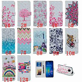 Недорогие Чехлы и кейсы для Huawei Mate-Кейс для Назначение Huawei Huawei Honor 10 / Huawei Honor 8X / Honor 7A Кошелек / Бумажник для карт / со стендом Чехол Эйфелева башня / Сова / Цветы Твердый Кожа PU