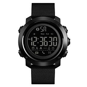 Недорогие Фирменные часы-SKMEI Муж. Спортивные часы Армейские часы электронные часы Цифровой Нержавеющая сталь Черный 50 m Защита от влаги Bluetooth Будильник Цифровой Роскошь Мода - Черный Один год Срок службы батареи
