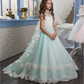 cheap Flower Girl Dresses-Ball Gown Sweep / Brush Train Flower Girl Dress - Polyester Sleeveless Jewel Neck with Appliques / Bow(s) / Lace