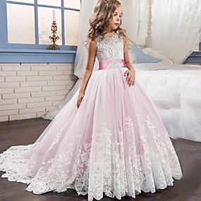 cheap Flower Girl Dresses-Princess Sweep / Brush Train / Long Length Flower Girl Dress - Lace / Tulle Sleeveless Jewel Neck with Appliques / Belt