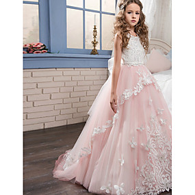 cheap Flower Girl Dresses-Ball Gown / Princess Maxi Flower Girl Dress - Polyester Sleeveless Jewel Neck with Beading / Appliques / Lace