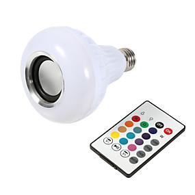 olcso Dekorációs izzók-1pc intelligens e27 rgb bluetooth hangszóró led izzó fény 12w zene lejátszása szabályozható vezeték nélküli led lámpa 24 gomb távirányító
