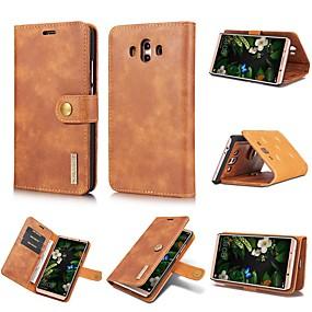 Недорогие Чехлы и кейсы для Huawei Mate-Кейс для Назначение Huawei Mate 10 / Huawei Mate 20 lite / Huawei Mate 20 pro Бумажник для карт / Защита от удара / со стендом Чехол Однотонный Твердый Настоящая кожа