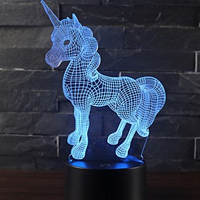 cheap LED Novelty Lights-Beautiful Unicorn Romantic Gift 3D LED Table Lamp 7 Color Change Night Light Room Decor Lustre Holiday Girlfriend Kids Toys