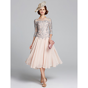 cheap The Wedding Store-A-Line Jewel Neck Tea Length Chiffon / Lace 3/4 Length Sleeve Sexy / Plus Size Mother of the Bride Dress with Beading 2020