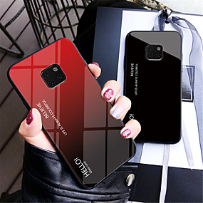 Недорогие Чехлы и кейсы для Huawei Mate-Кейс для Назначение Huawei Mate 10 / Mate 10 pro / Mate 10 lite Зеркальная поверхность Кейс на заднюю панель Градиент цвета Твердый Закаленное стекло