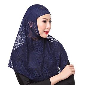 رخيصةأون إشاربات و لفات-حجاب لون سادة نسائي - دانتيل دانتيل, أساسي / كل الفصول
